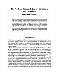 research paper sample sample medical research paper