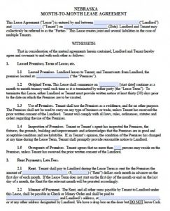 residental rental application nebraska month to month lease agreement version x