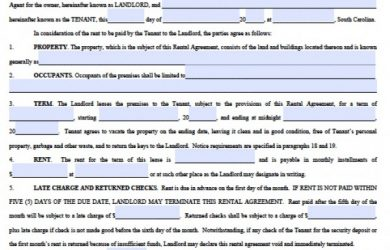residential lease agreement pdf south carolina standard residential lease agreement x