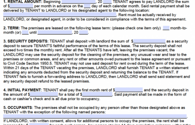 residential lease agreement template california standard residential lease agreement template x