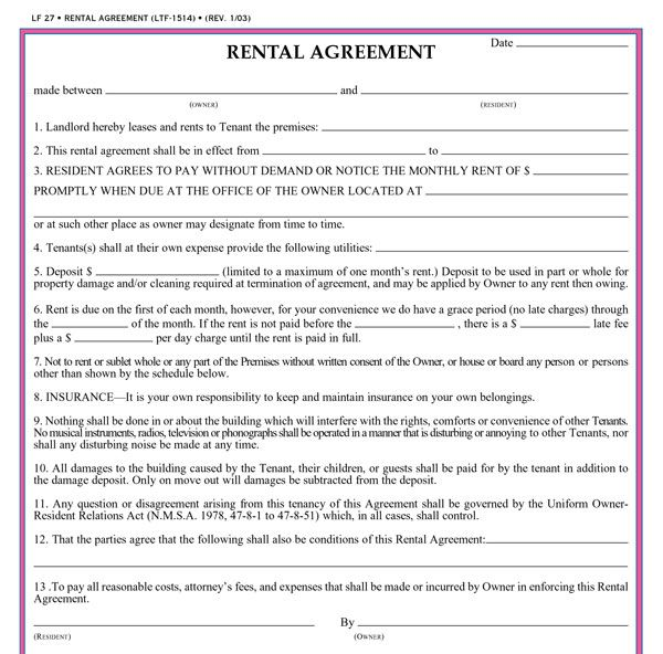 Residential Rental Agreement Template Business
