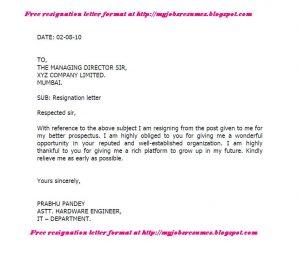 resignation letter format resignation letter