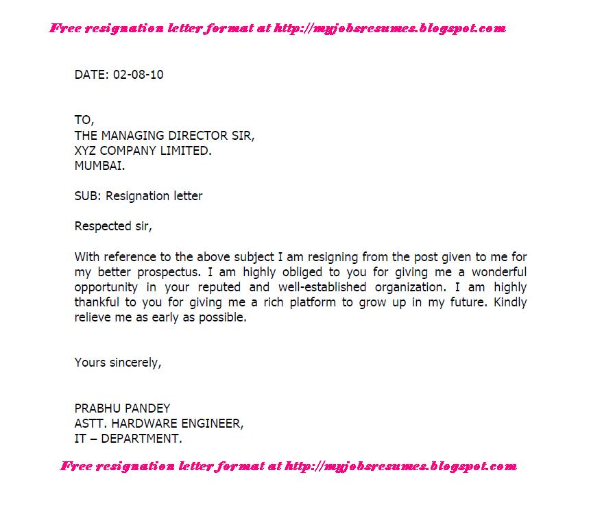 Format for resign letter kubreforic format for resign letter expocarfo Images