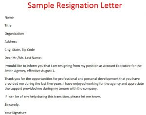resignation letter format sample resignation letter