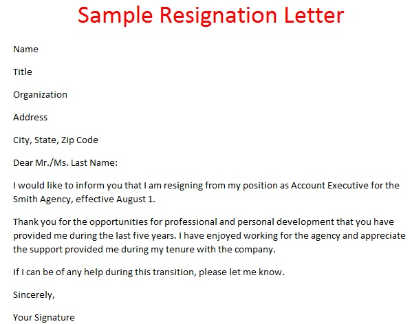 Resignation Letter Format  Template Business