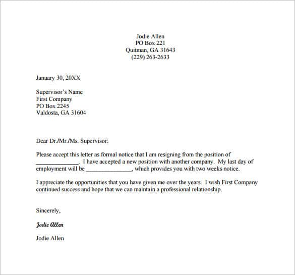 resignation letter template template business