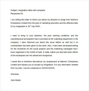 resignation letter template free resignation letter with complaint