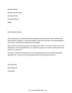 resignation letter template word letter of resignation bg