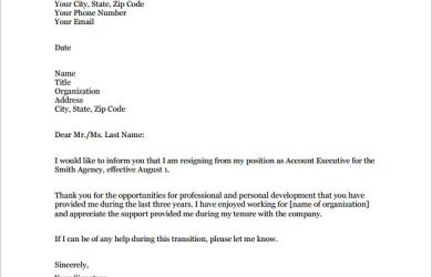 resignation letter templates email resignation letter example pdf free download