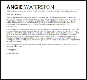 resignation letters examples car dealership