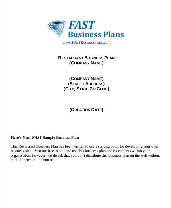 Restaurant Business Plan  Template Business