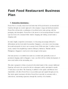 restaurant business plan sample fast food restaurant business plan