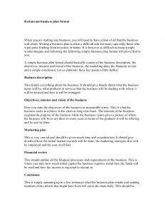 restaurant business plan sample restaurant business plan format