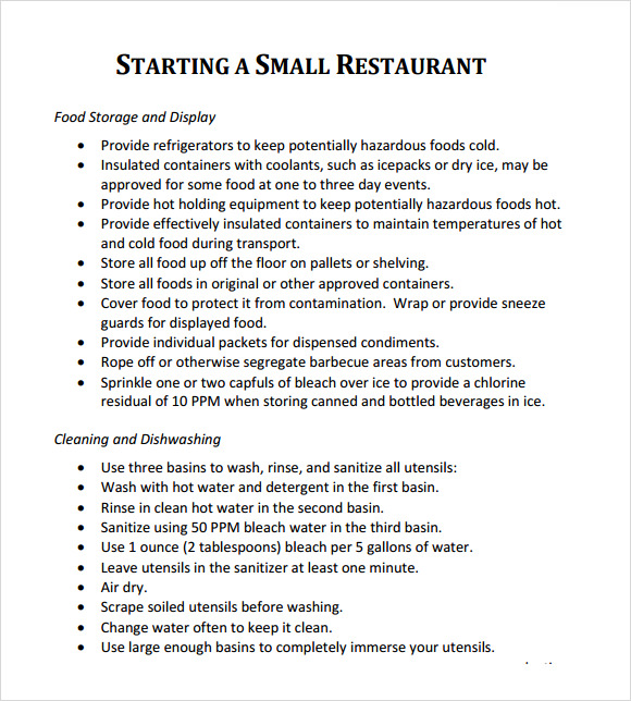 restaurant business plan sample