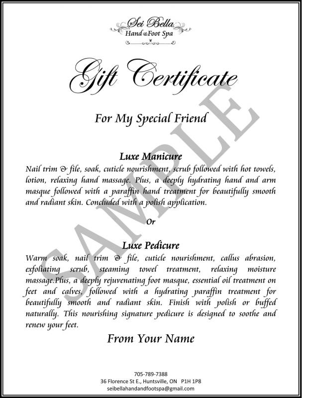 wording on gift certificates