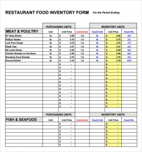 restaurant inventory spreadsheets inventory form restaurant