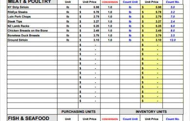restaurant inventory spreadsheets inventory form restaurant