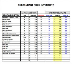 restaurant inventory spreadsheets restaurant inventory list