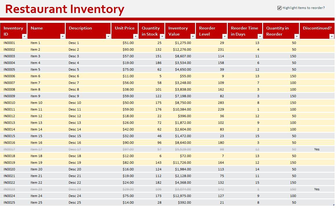 restaurant inventory spreadsheets
