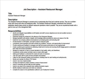 restaurant manager job description assistant restaurant manager job description pdf free download