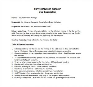 restaurant manager job description free bar restaurant manager job description pdf download