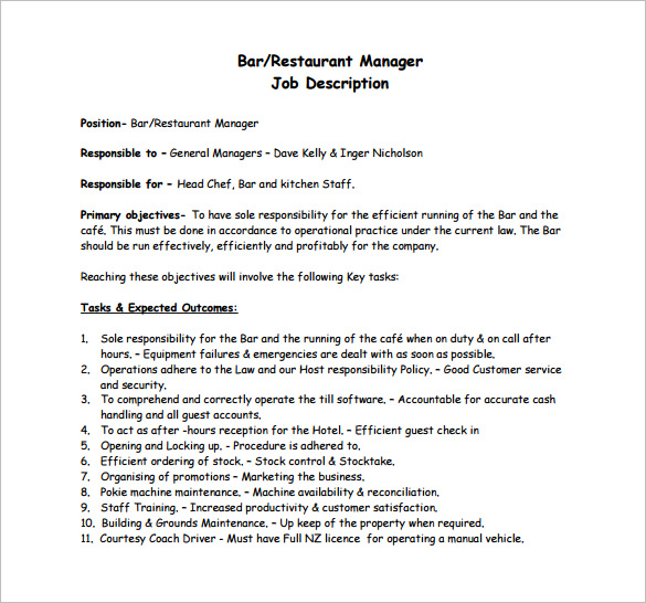 Restaurant Bar General Manager Job Description