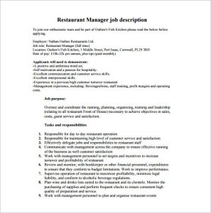 restaurant manager job description front of house restaurant manager job description free pdf
