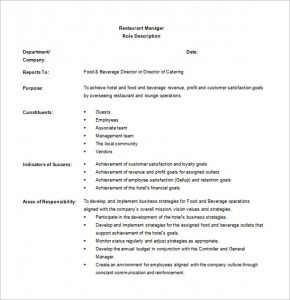 restaurant manager job description hotel restaurant manager job description free word download