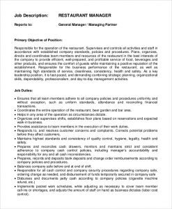 restaurant manager job description restaurant general manager job description
