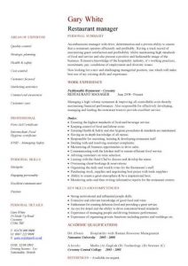 restaurant manager resume pic restaurant manager cv template