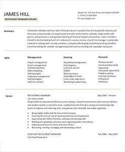 restaurant manager resume restaurant manager job resume