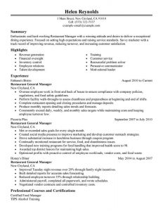 restaurant manager resume restaurant manager management