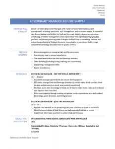 Restaurant Manager Resume Restaurant Manager Resume Sample 17 Restaurant  Manager Resume  Resume For Restaurant