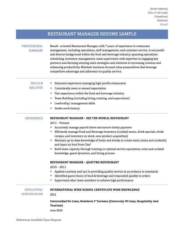 Restaurant manager resume template business for Resume templates for restaurant managers