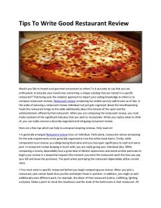 restaurant marketing plan tips to write good restaurant review