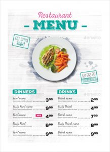 restaurant menu sample restaurant menu vector eps template