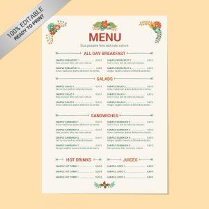 restaurant menu template free editable restaurant menu free template download