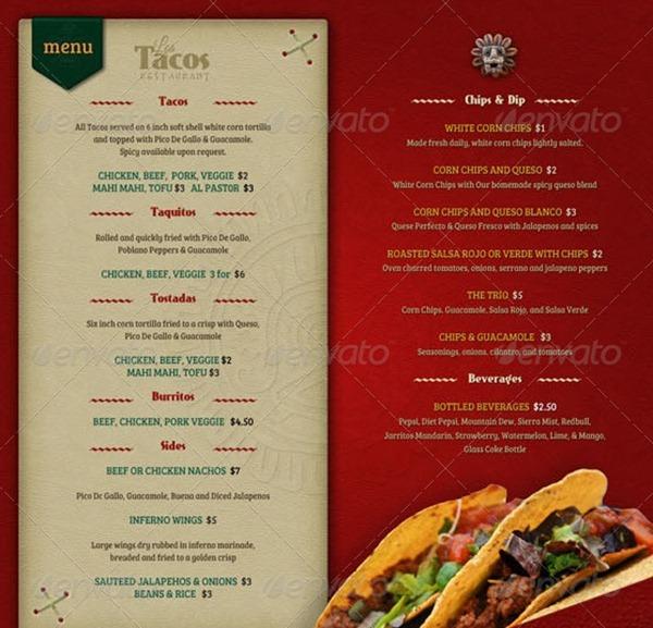 restaurant menu templates