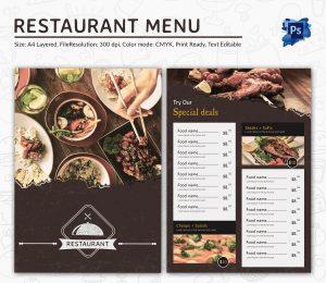 restaurant menu templates premium restaurant menu template