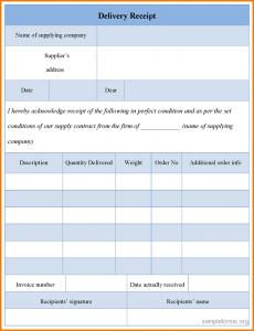 restaurant receipt template receipt forms delivery receipt form