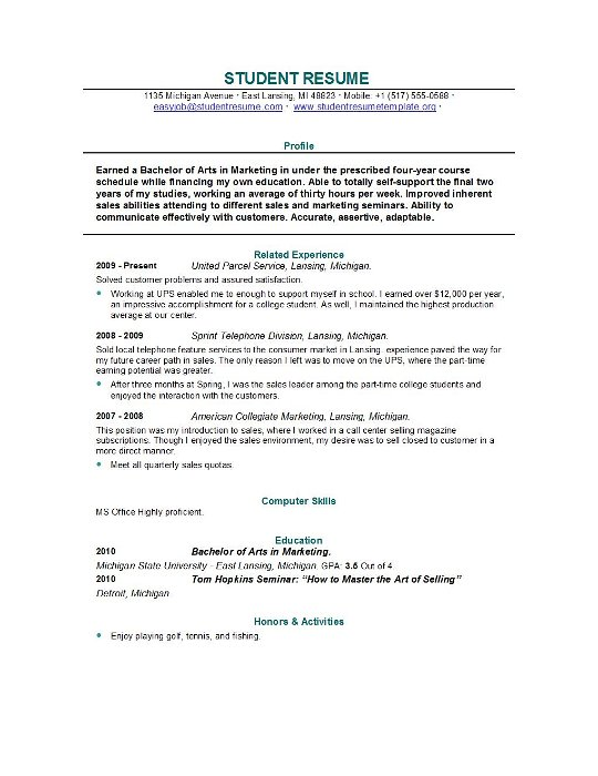 Resume College Student  How To Make A Resume College Student