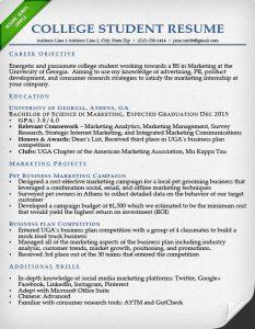 resume college student college student resume sample