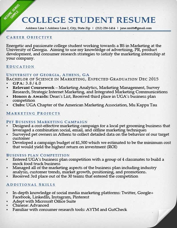 Resume Example For College Student | Template Business