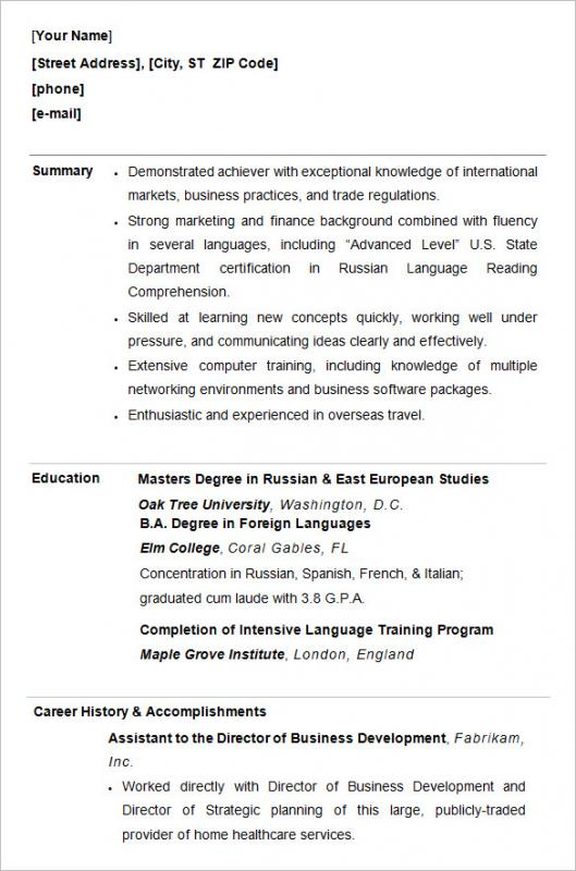 Resume Examples For College Students  Business Student Resume