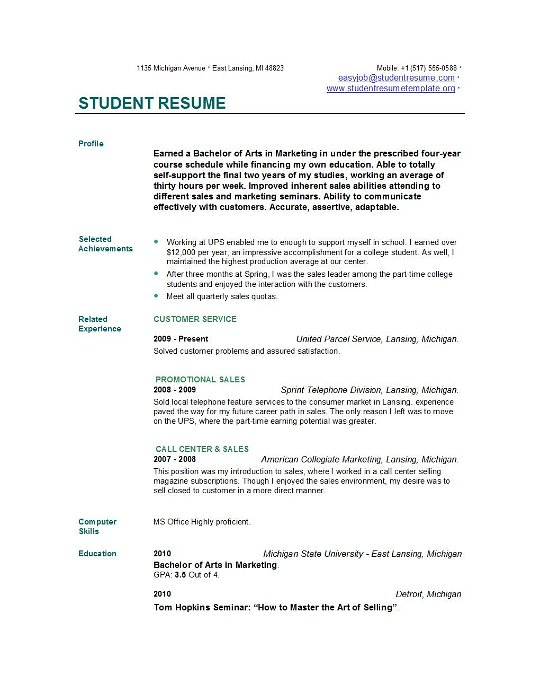 Resume Examples For College Students  Sample Basic Resume