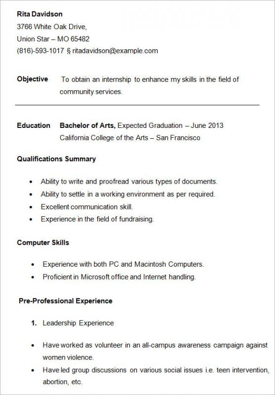 resume examples for college students - Students Resume Samples