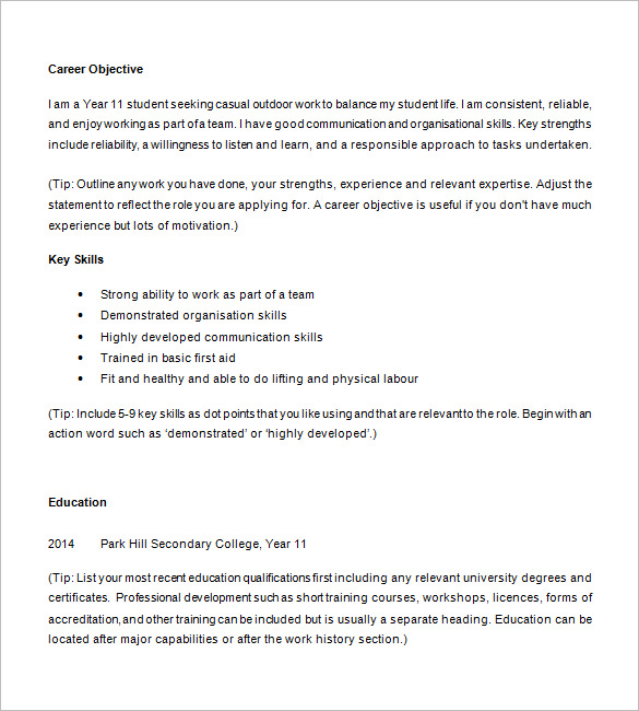 Resume Examples For Highschool Students | Template Business