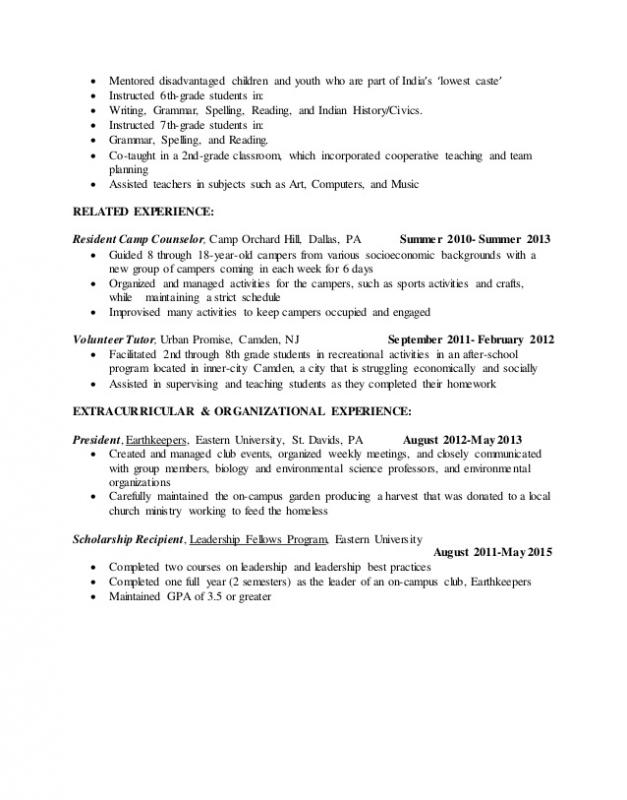 resume examples for students