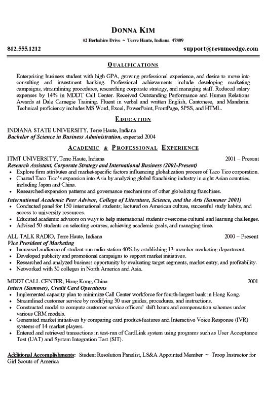 resume template for freshman college student