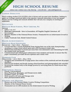 resume for college students high school resume sample